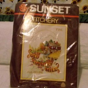 "SUNSET Stitchery, Crewel, #2434 ""Old Country Mill"""